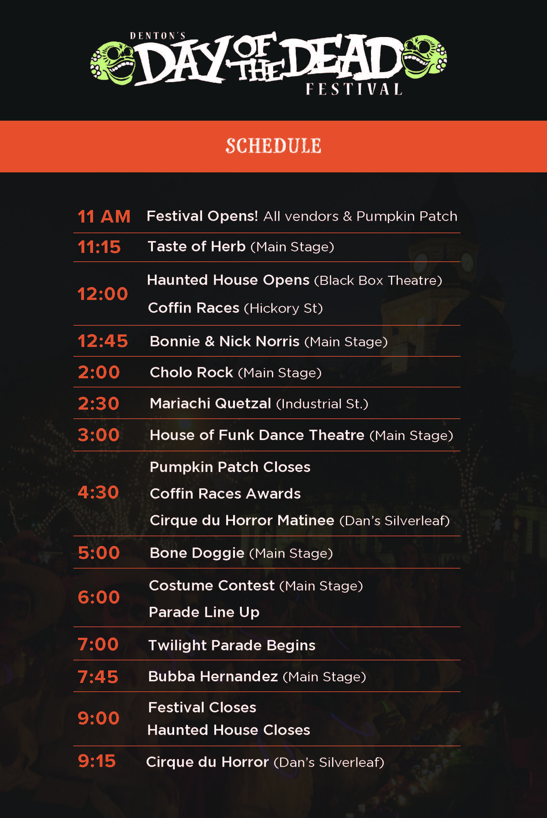 2017 Denton Day of the Dead Schedule