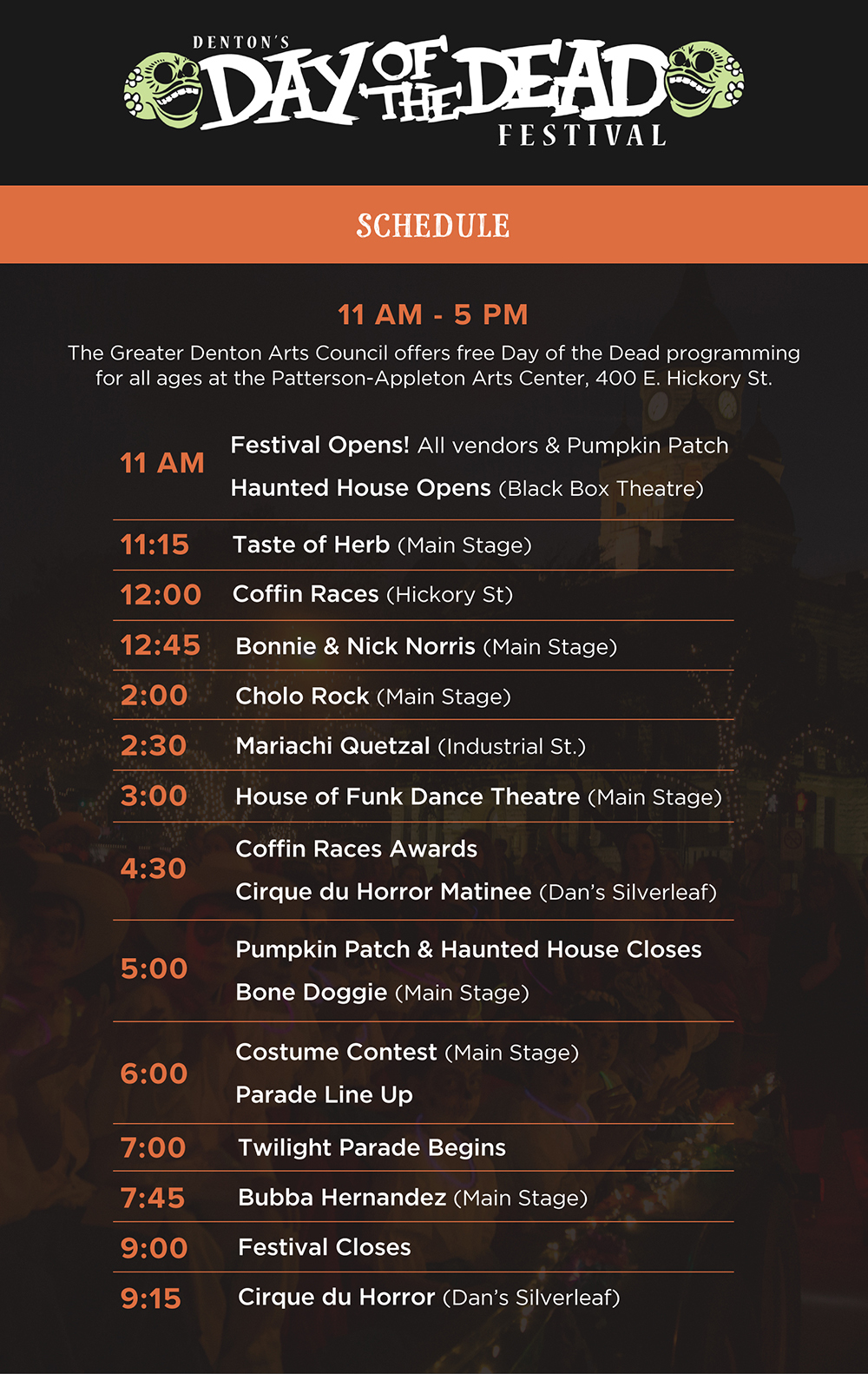 2018 Denton Day of the Dead Schedule